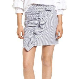 The Fifth Label Blue Anagram Strip Ruffle Skirt M